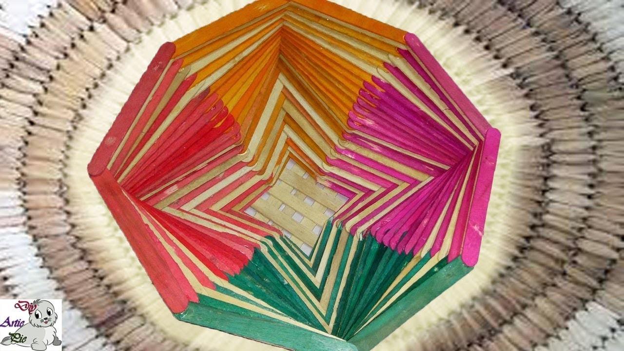 How Make a Popsicle Stick Flower Basket    Popsicle Stick Craft    Ice Cream Stick Craft