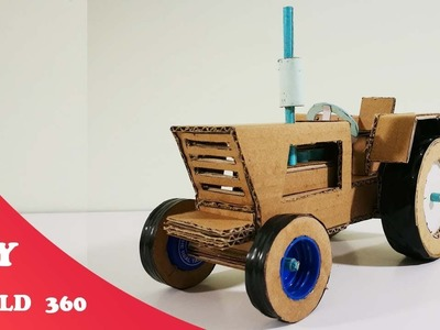 How to make a tractor- DIY cardboard craft