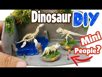 HOW TO MAKE MINIATURE DINOSAUR MUSEUM DIY Craft polymer clay epoxy resin tutorial Dragon