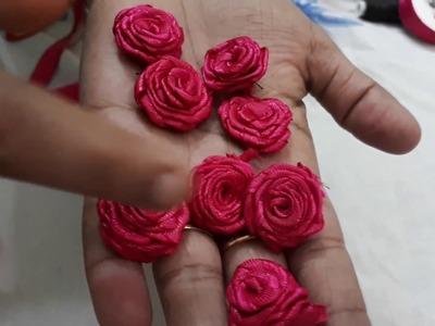 How to make satin ribbon rose. DIY craft tutorials. DIY SATIN ribbon rose