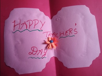 How to make teacher's day greeting card,craft work with origami flowers,DIY greeting card making