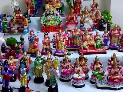 Navarathiri Golu decoration ideas at home | Golu craft | Nalicraft