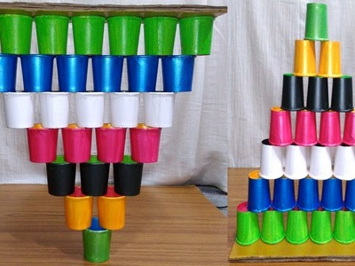 PAPER CUP CRAFT SHOWPIECE BEST OUT OF WASTE HOME DECOR