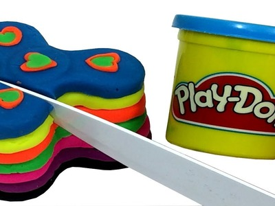 Play Doh Rainbow Cake Fidget Spinners DIY Cutting Open Clay Craft Review For Kids