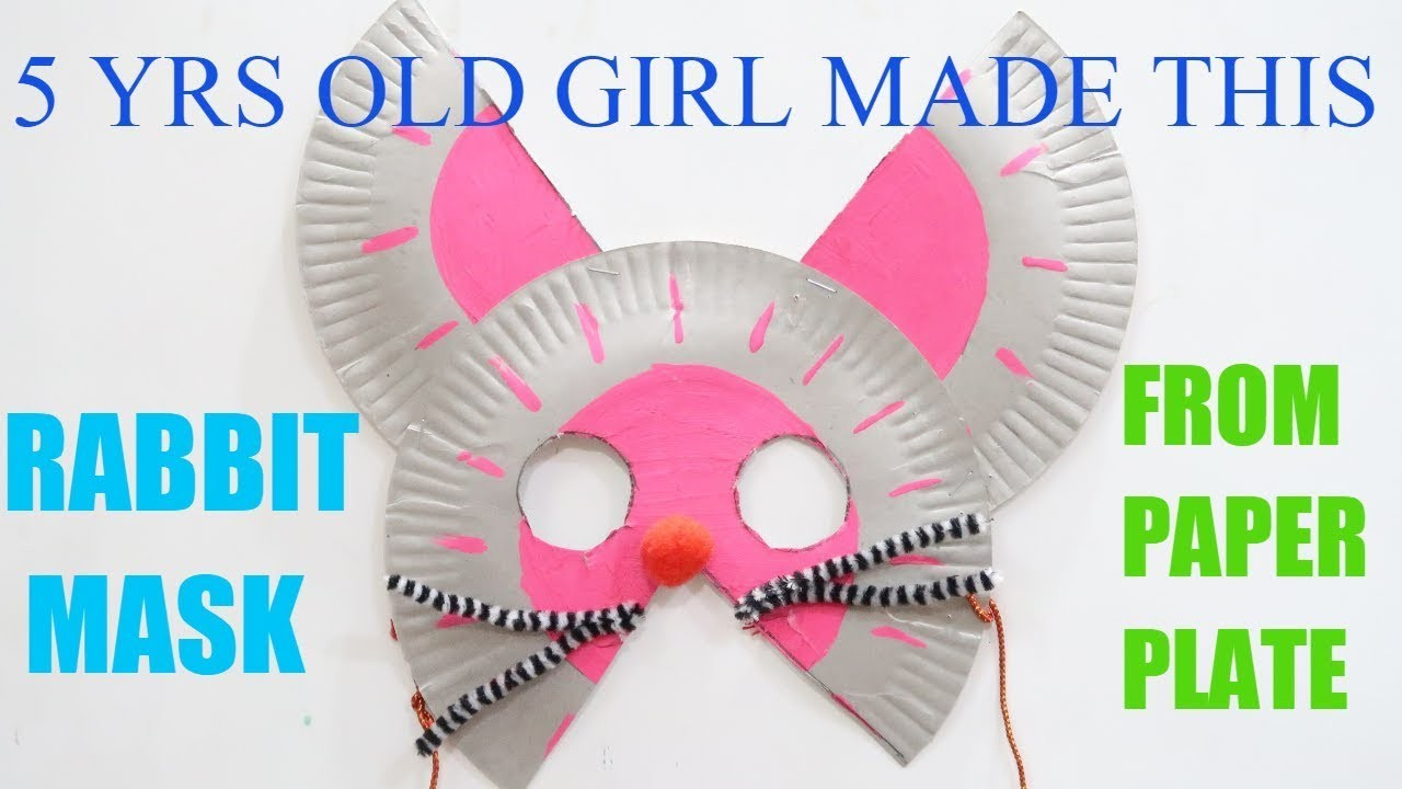 RABBIT CRAFT BY 5 YRS OLD GIRL | RABBIT MASK | PAPER PLATE CRAFT | PAPER PLATE MASK |PRESCHOOL CRAFT