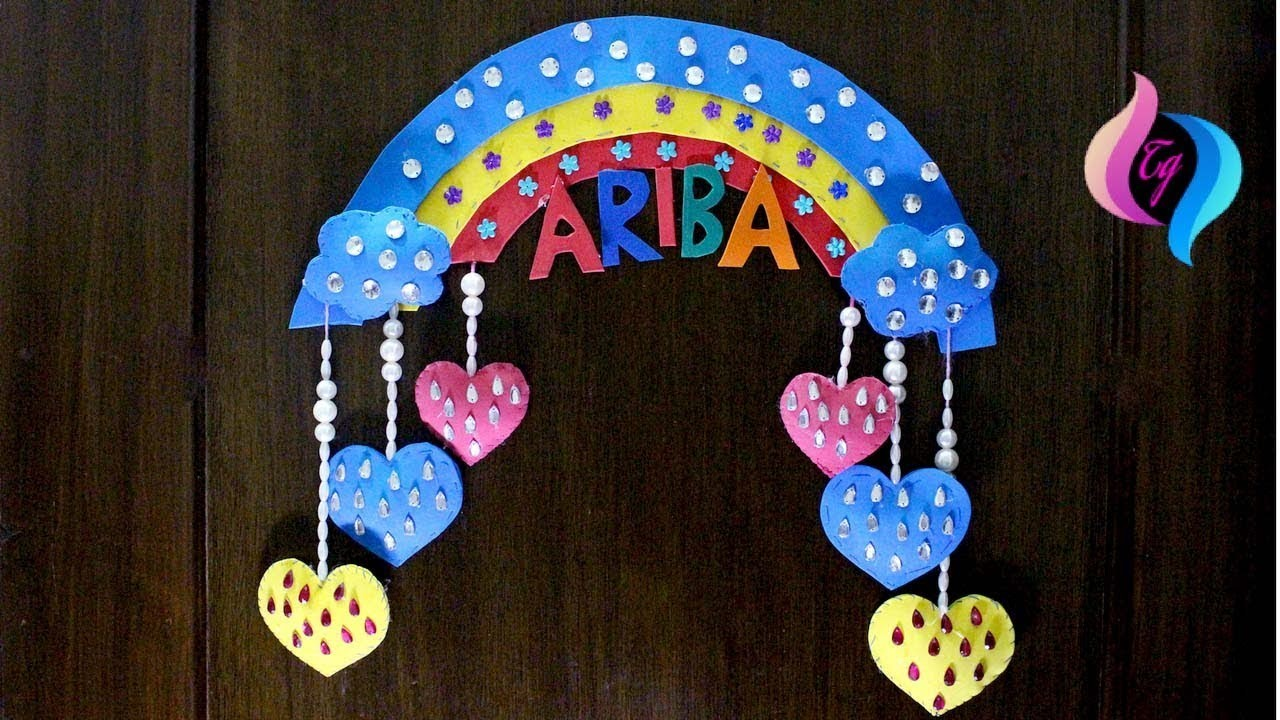 Rainbow wall hanging - Handmade wall hanging ideas - Easy craft ideas for kids to make at home