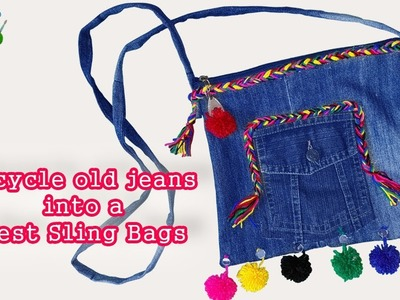 Recycle old jeans into a Best Sling Bags II DIY Craft Ideas  - DIY: No-Sew Backpack from Old Jeans