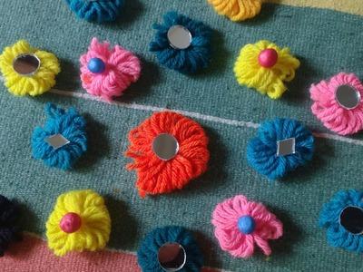 Woolen Crafts || Woolen Flowers making || Woolen Thread Craft ||Woolen design.