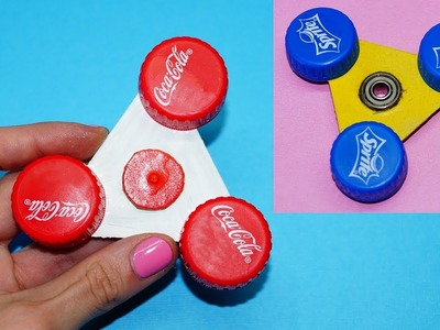 Awesome diy fidget spinner. How to make spinner Coca Cola and Sprite. EASY SPINNER TOYS. Julia DIY
