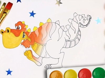 Dinosaurs. Fun Tyrannosaurus - Draw and Color | Coloring Pages for Kids | Rainbow TV
