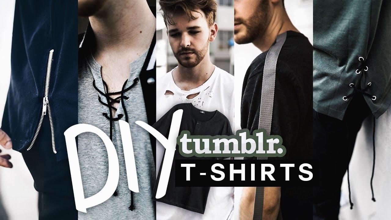 DIY 5 Tumblr T-Shirts ???? Tranform your old shirts! (NO SEW + SUPER EASY) - Imdrewscott