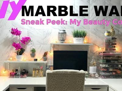 DIY Marble Wall. Sneak Peek at My Beauty Corner   DaringDiamond