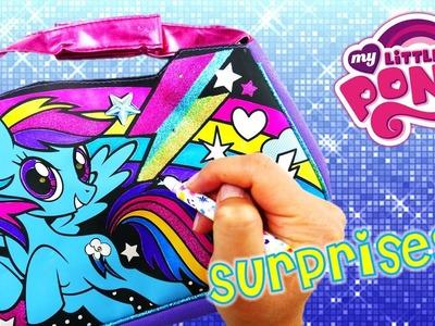 DIY My Little Pony Rainbow Dash Coloring Light Up Handbag Purse and Shopkins Surprises