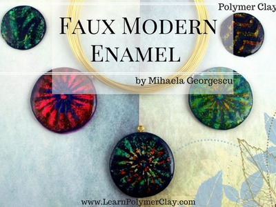 Faux Modern Enamel [Polymer Clay Video Tutorial] using chalk pastels and stencils
