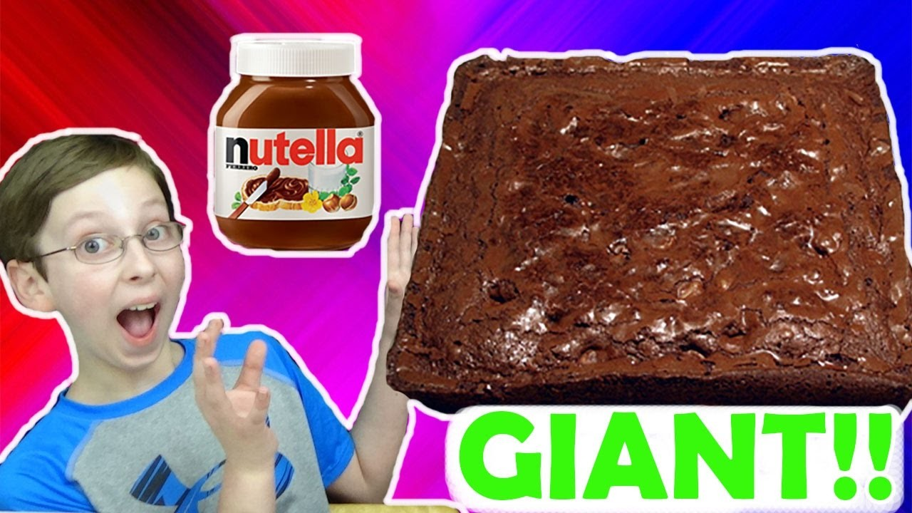 GIANT NUTELLA BROWNIE!!  DIY HOW TO MAKE! | COLLINTV