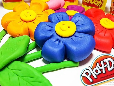 How to Make Beautiful Play Doh Rainbow Flowers Fun & Easy Play Dough Art Learn Colors for KIds