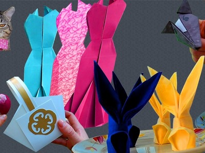 HOW TO MAKE ORIGAMES? EVENING DRESS, BUNNY, WOLF, NAPKIN,  BASKET OF PAPER
