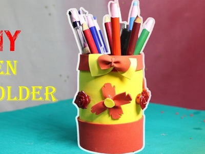 How To Make Pen Holder  Using Plastic Bottle - DIY | Make a Colorful Pen Holder