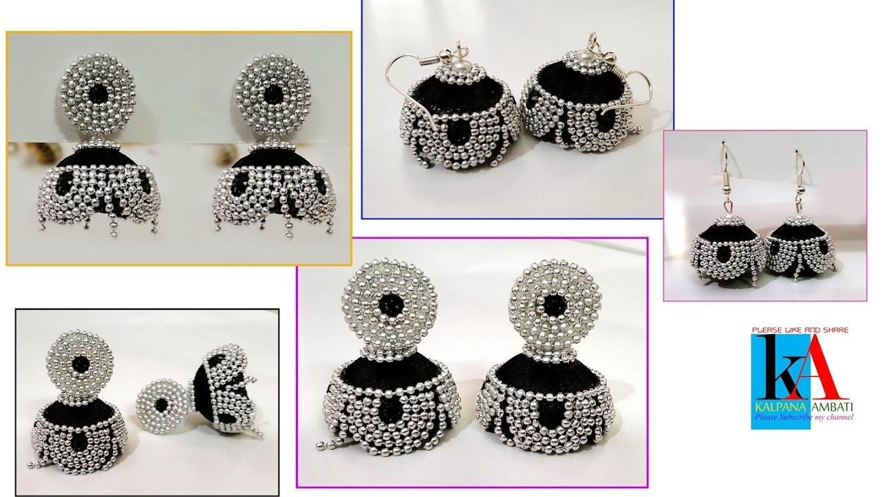 How to make silk thread designer jhumkas. silver ball jhumkas making. diy