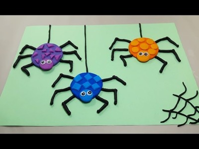 How to make spider clay toys for kids, spider polymer clay play-doh cute and full colors