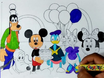 Mickey Mouse and Family Coloring Pages | Learn Rainbow Colors for Kids Children Toddlers and Babies