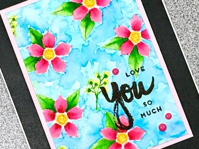 Paper Pumpkin April 2017 Alternate 3 Acrylic Flower Watercolor Card
