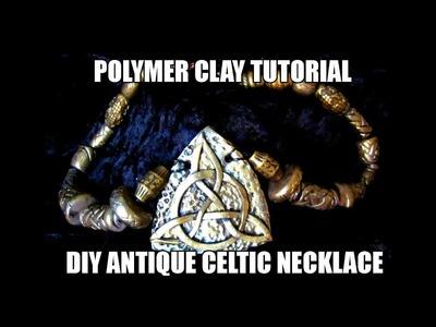109-Polymer clay tutorial - DIY antique celtic necklace