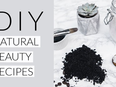 3 EASY DIY NATURAL BEAUTY RECIPES | charcoal peel face mask, coffee body scrub & bath salts