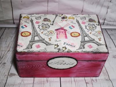 #34. DECOUPAGE BOX. BIELONA SKRZYNIA. VINTAGE. TUTORIAL DIY. DECOUPAGE. BOX