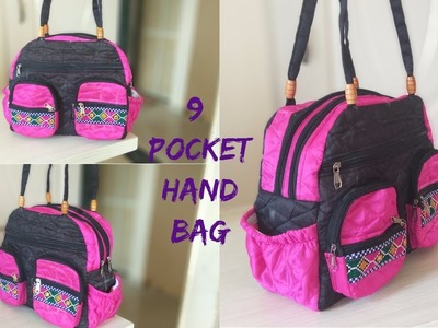 9 pocket handbag make at home DIY in Hindi |amzon|flipkart|snapdeal|voonik|myntra|e-bay|shopclue|