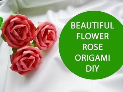 Beautiful Flower Rose Origami Paper Tutorial DIY