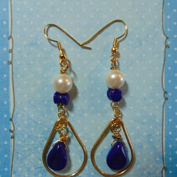 Blues and Pearls Oval Hoops