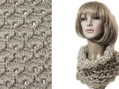 Crochet textured scarf Cowl Puff stitch Wika crochet DIY