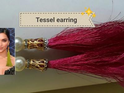 D.i.y how to make _party wear silk tassel earring tutorial 2017