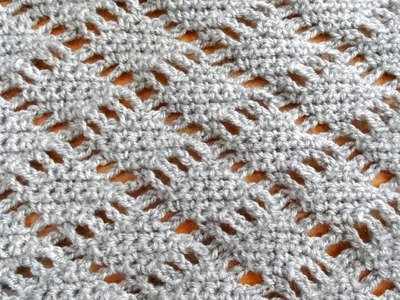 Diamond Lace Crochet Stitch - Right Handed Crochet Tutorial