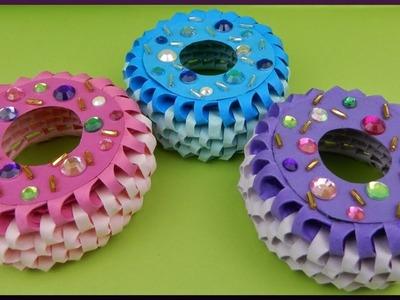 DIY 3D Origami | Papier donut dekoration | paper sweets doughnut with rhinestones
