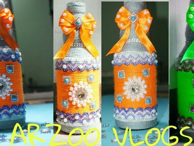 DIY bottle Crafts || New Design Yarn Wrapped glass ???? bottle || Flower Vase || ARZOO VLOGS