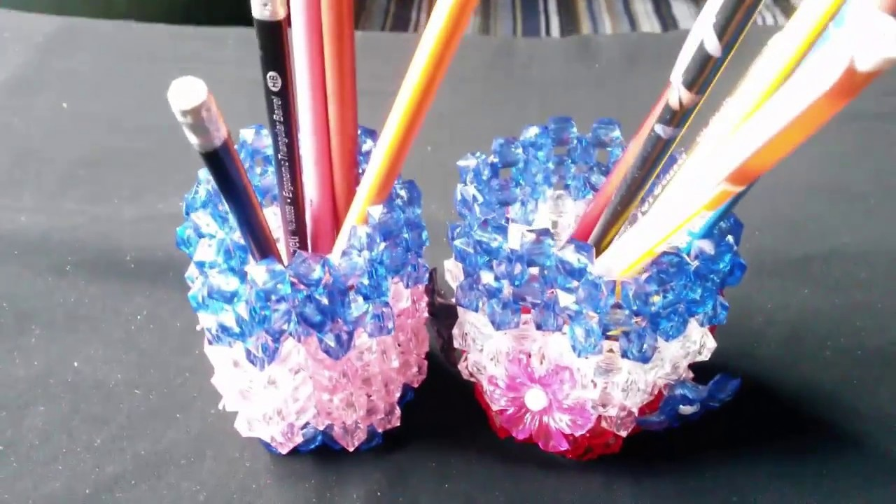 Diy Crafts Ideas How To Make Crystal Beaded Pen Stand Pen Pencil