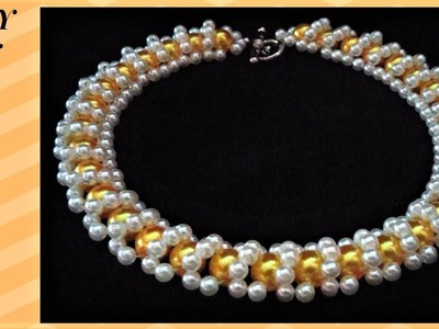 DIY Cute yellow necklace. Jewelry making tutorial