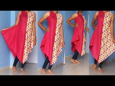 DIY Designer Triangle Two Color Kurti cutting And Stitching Full Tutorial