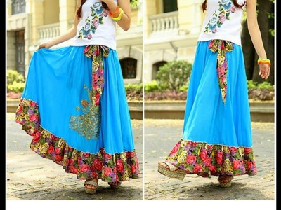 DIY Easy Making of Beautiful Ethnic Long Skirt  Tutorial   Cutting and Stitching  