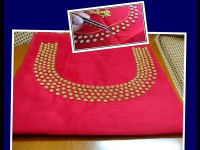 DIY Easy Making of How to design Ring and Rhine Stones Neckline- Aari| Maggam Embroidery