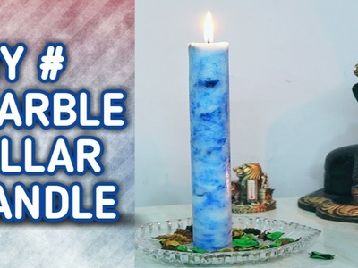 DIY # Easy Marble Pillar Candle Without professional Mould
