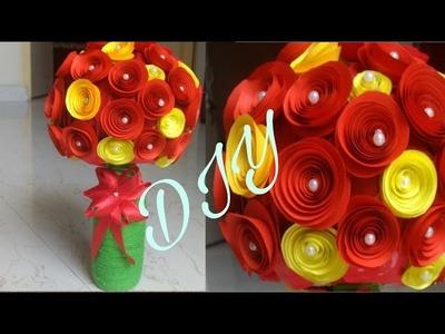 DIY easy paper flower bunch | recycled bottle vase making | by sweetu tada