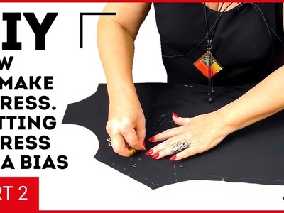 DIY: How to make a dress. Cutting a dress on a bias. Making a dress with lacy sleeves. Part 2.