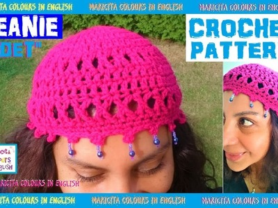 """DIY how to make a nice Beanie in crochet """"ODET"""" by Maricita Colours in English"""