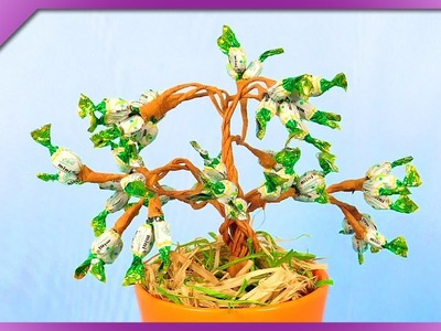 DIY How to make bonsai tree out of mini candies (ENG Subtitles) - Speed up #394