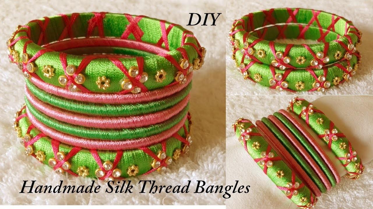 DIY || how to make designer silk thread bridal bangles at home || Handmade tutorial
