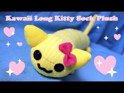 ❤ DIY Kawaii Long Cat Sock Plush! How To Make A Cute Kitty Plushie! ❤