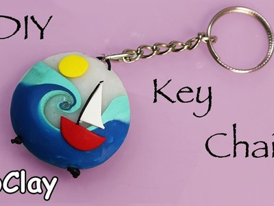 Diy Key chain with a swirl summer bead -Polymer clay tutorial